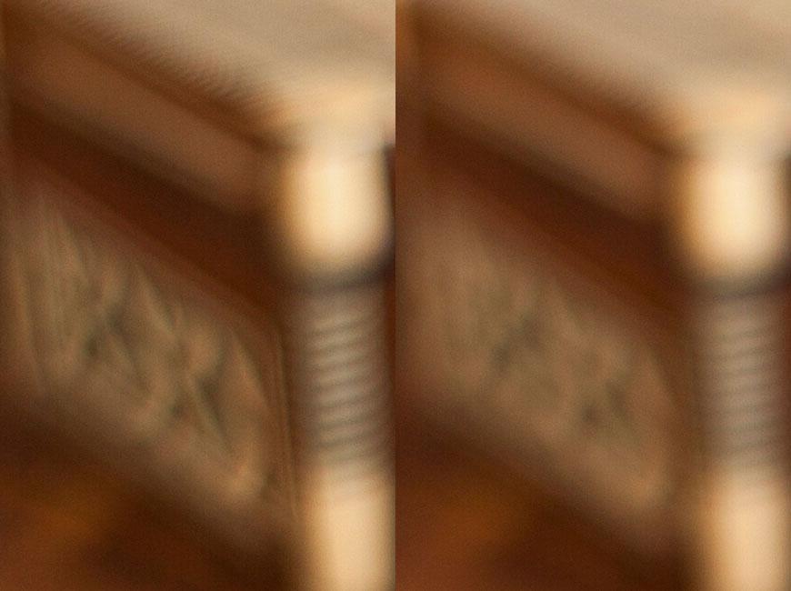 Crop 100%; esquerda, bokeh da 50mm f/1.8II; direita, bokeh da 50mm f/1.4 USM.