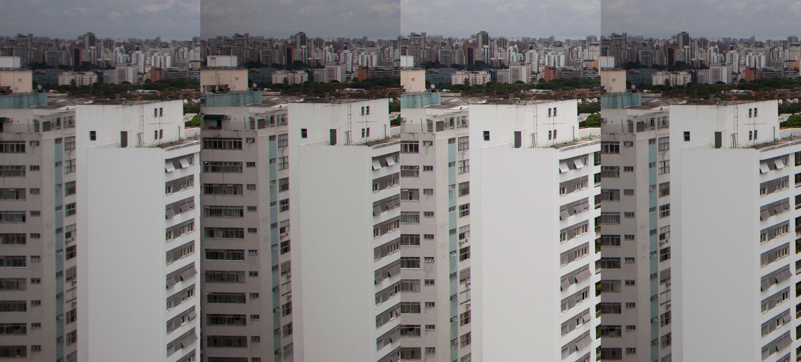 Comparação lado a lado com outras objetivas: EF 17-40mm f/4L USM, EF 24-105mm f/4L IS USM, EF 24mm f/1.4L II USM e TS-E 24mm f/3.5L II, todas em 24mm f/4 1/2500 ISO100. Desempenho da 17-40mm é o pior na borda do quadro; falta resolução totalmente aberta.