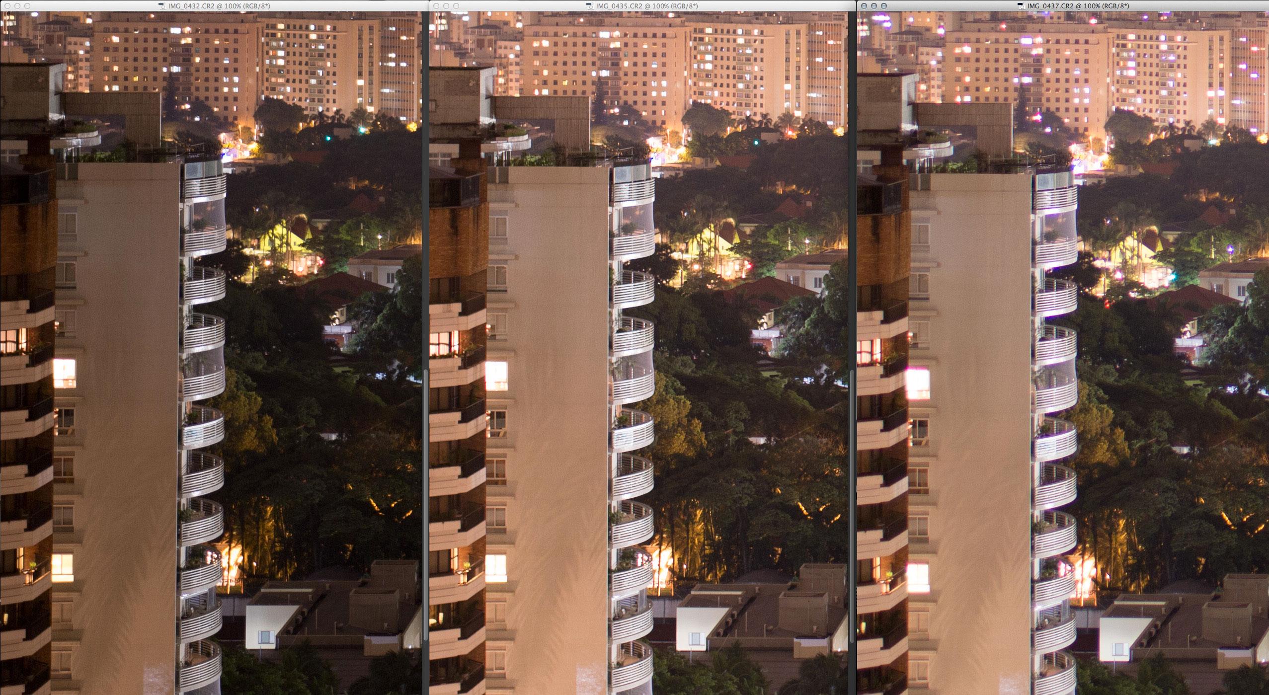 Da esquerda para direita: 18-35mm, 35mm f/1.4 DG, 35mm f/1.4L. A zoom é muito mais escura porque sofre com vinheta em abertura máxima. Mas a resolução é virtualmente idêntica a prime do mesmo fabricante. Já a Canon L fica  atrás em contraste (um pouco de blooming) e CA.