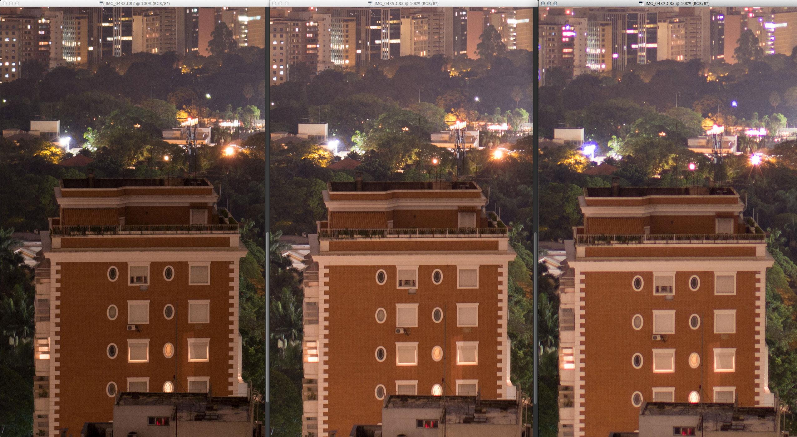Da esquerda para direita: 18-35mm, 35mm f/1.4 DG, 35mm f/1.4L. Quase o mesmo resultado da borda: resolução virtualmente idêntica nas Sigma e Canon sofrendo com aberrações.