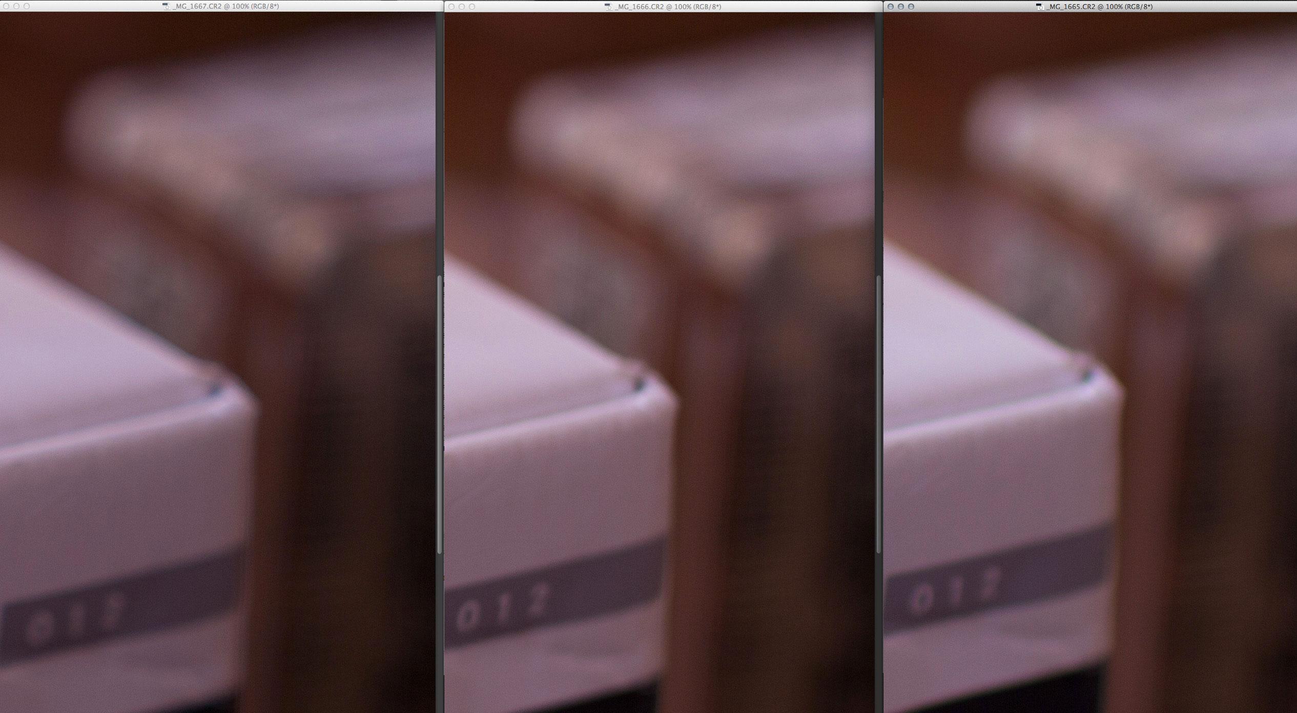 Da esquerda para direita: 18-35mm, 35mm f/1.4 DG, 35mm f/1.4L. CA longitudinal na Canon é o maior, mas bokeh é mais suave que as outras! Note a linha dupla vertical (na caixa) com a Sigma prime e a linha tripla na Sigma zoom.