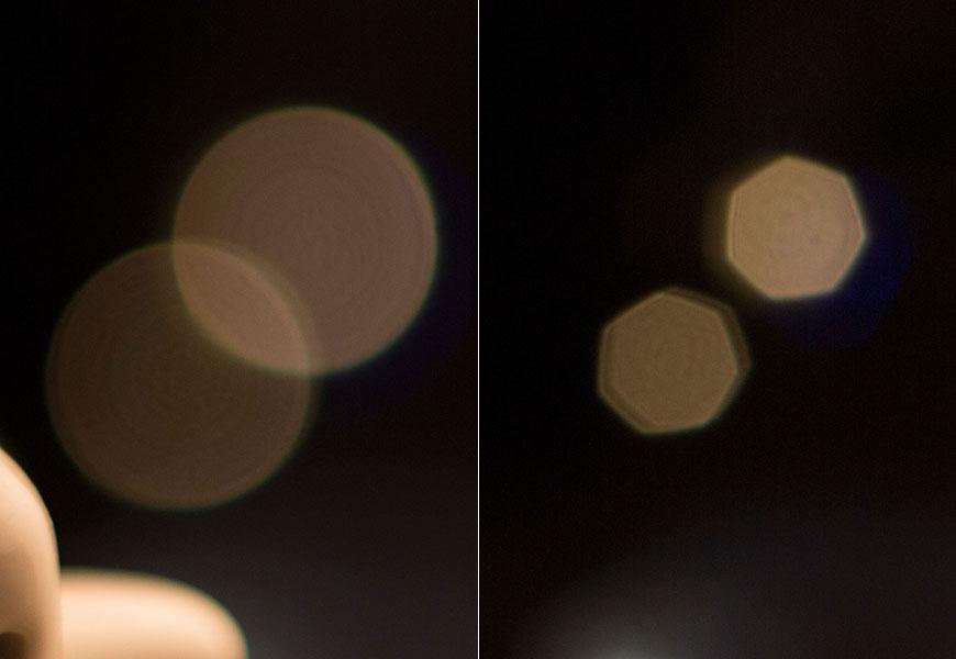 Luzes no bokeh tem formato de heptágono; sistema de 7 blades não é redondo.