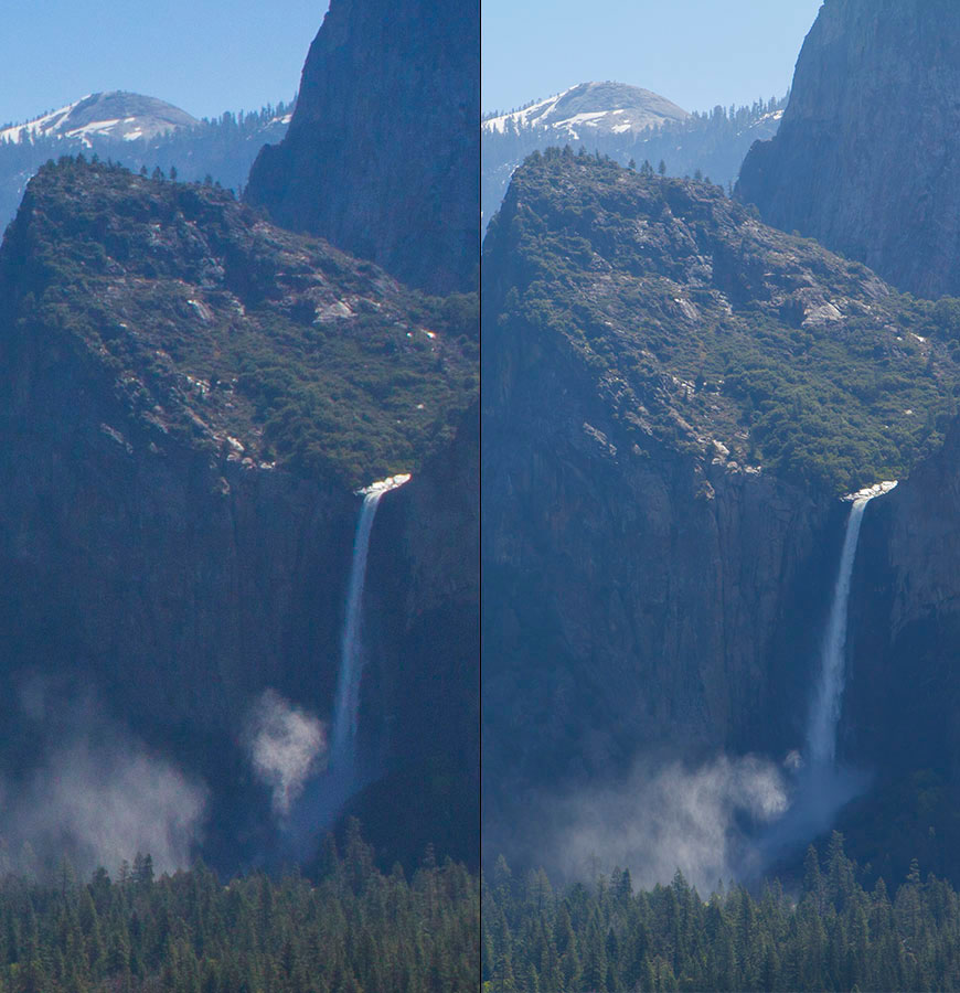 Ampliando o centro da primeira imagem em 24mm (esquerda), notamos que a composição é idêntica a da direita, que foi em 70mm.