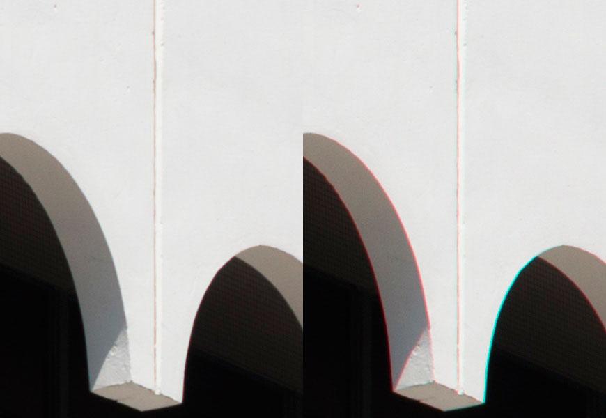 Crop 100%, a direita, sem correção; a esquerda, com correção via software.
