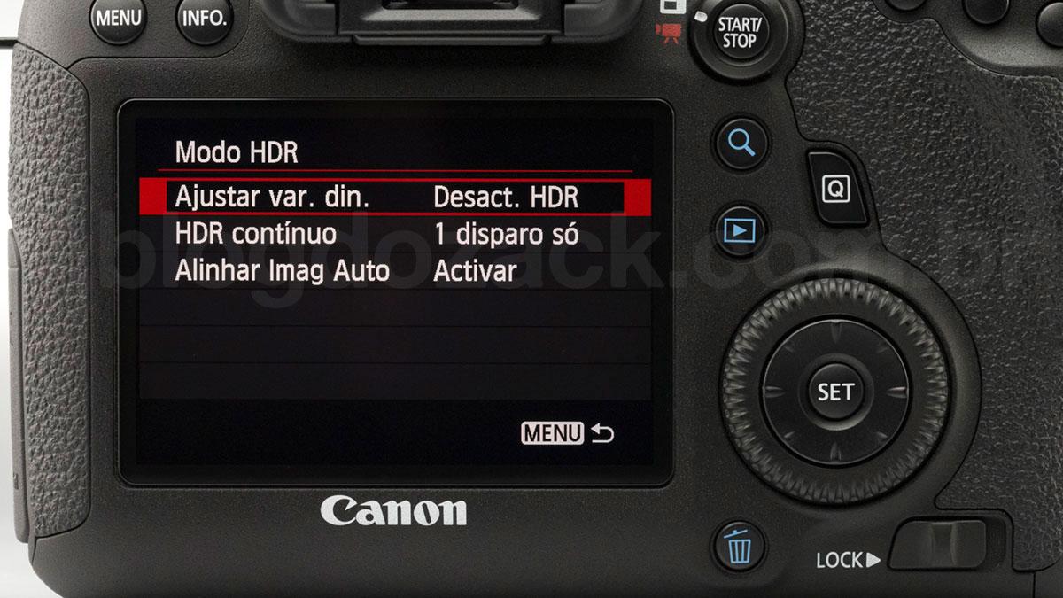 Modo HDR, outro recurso sofisticadíssimo #sqn com apenas três opções de ajuste.