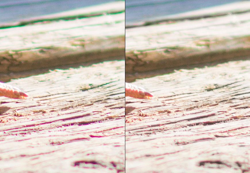 Crop 100%, CA longitudinal é tão forte que nem a correção máxima do Photoshop (direita) resolve o problema.