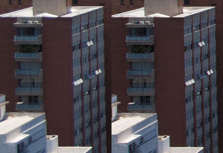 Crop 100%, esquerda f/2.8 e direita f/8; blooming na abertura máxima.