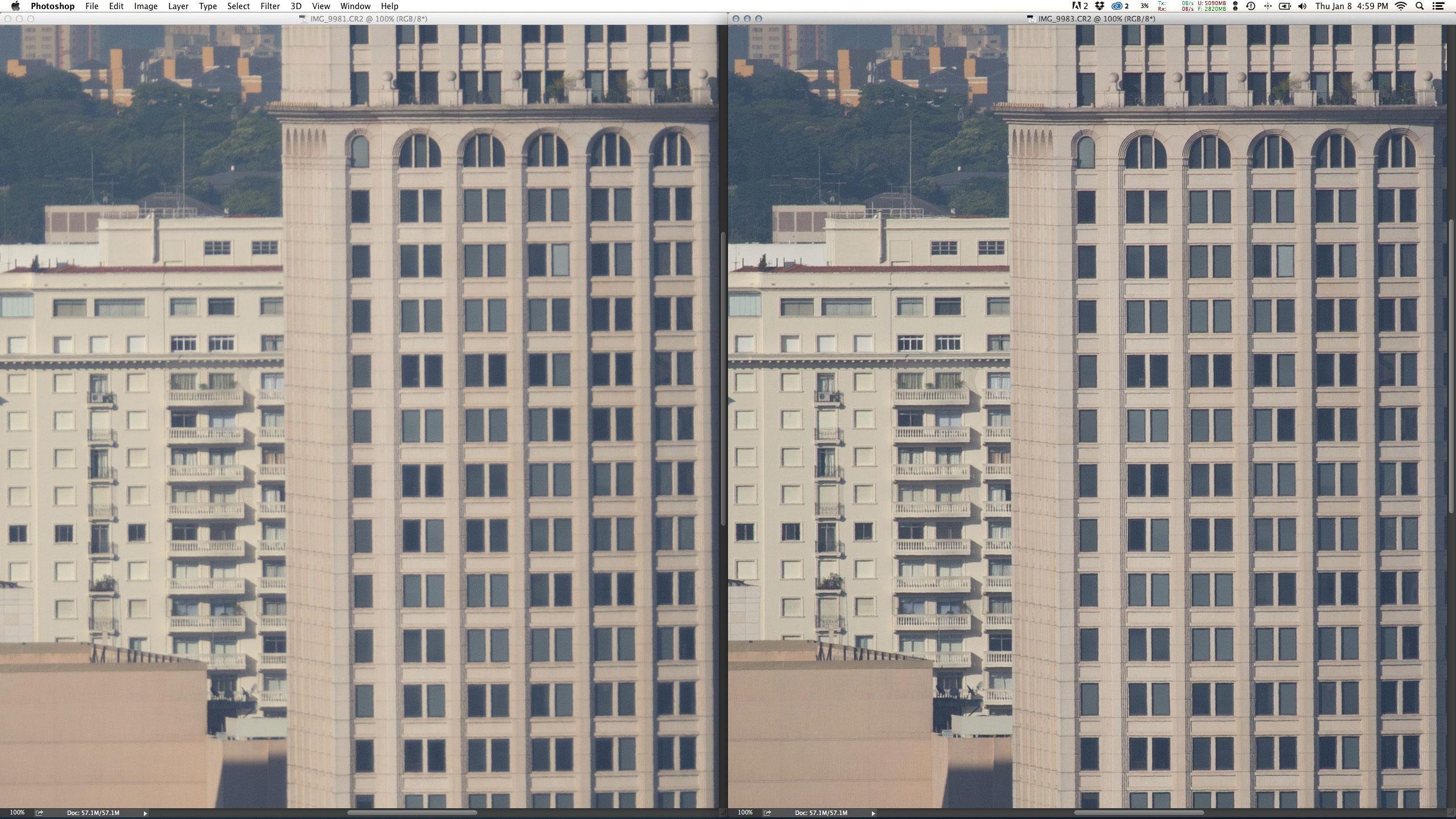 Esquerda: EF 200mm f/2L IS USM + Extender 2X III em f/4 1/3000 ISO200 @ 400mm. Direita: EF 100-400mm f/4.5-5.6L IS USM em f/5.6 1/1500 ISO200 @ 400mm. Em abertura máxima, a zoom com 400mm nativos é muito superior a top prime convertida.