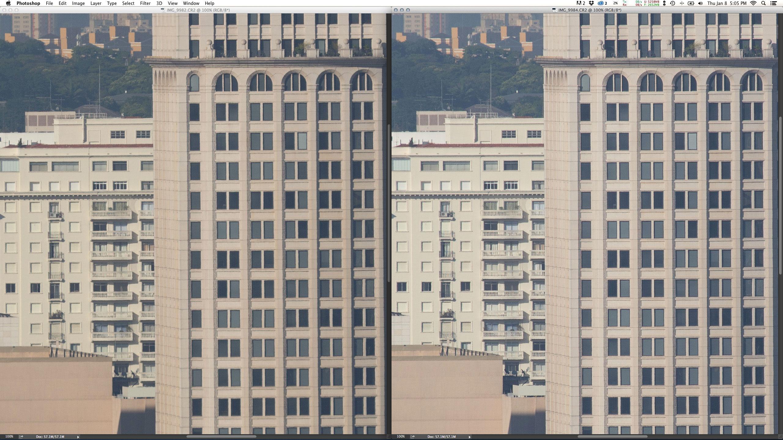 Esquerda: EF 200mm f/2L IS USM + Extender 2X III em f/8 1/750 ISO200 @ 400mm. Direita: EF 100-400mm f/4.5-5.6L IS USM em f/8 1/750 ISO200 @ 400mm. Em f/8 a prime já fica muito mais nítida que a abertura máxima, apesar da zoom continuar bem na frente.