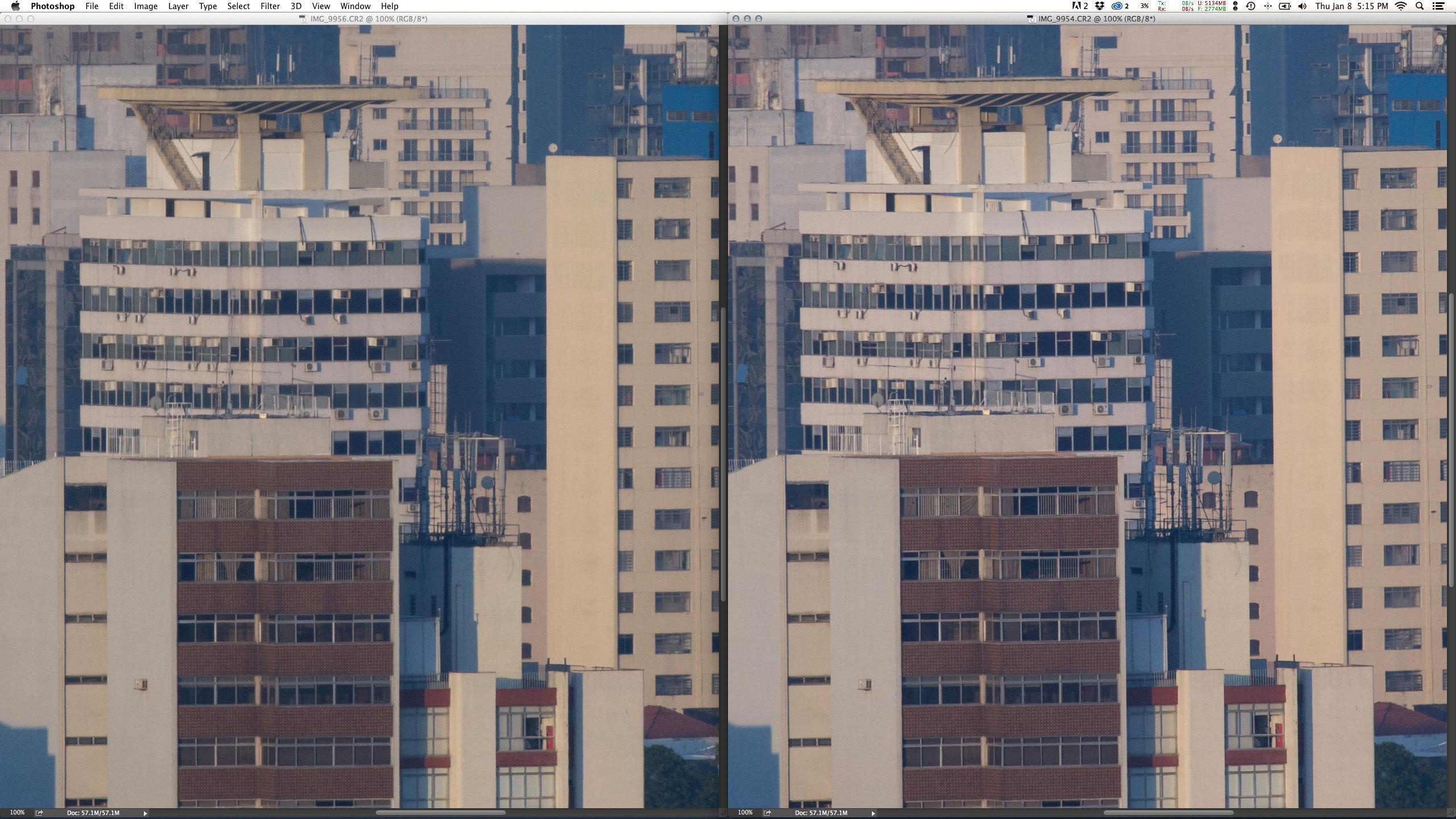 Esquerda: EF 70-200mm f/2.8L II IS USM + Extender 2X III em f/5.6 1/1000 ISO400 @ 400mm. Direita: EF 100-400mm f/4.5-5.6L IS USM em f/5.6 1/750 ISO400 @ 400mm. Por incrível que pareça a diferença entre as duas zoom é bem menor que a prime top convertida e a zoom nativa na abertura máxima. Não dá para falar que a 70-200mm + 2X III seja ruim.