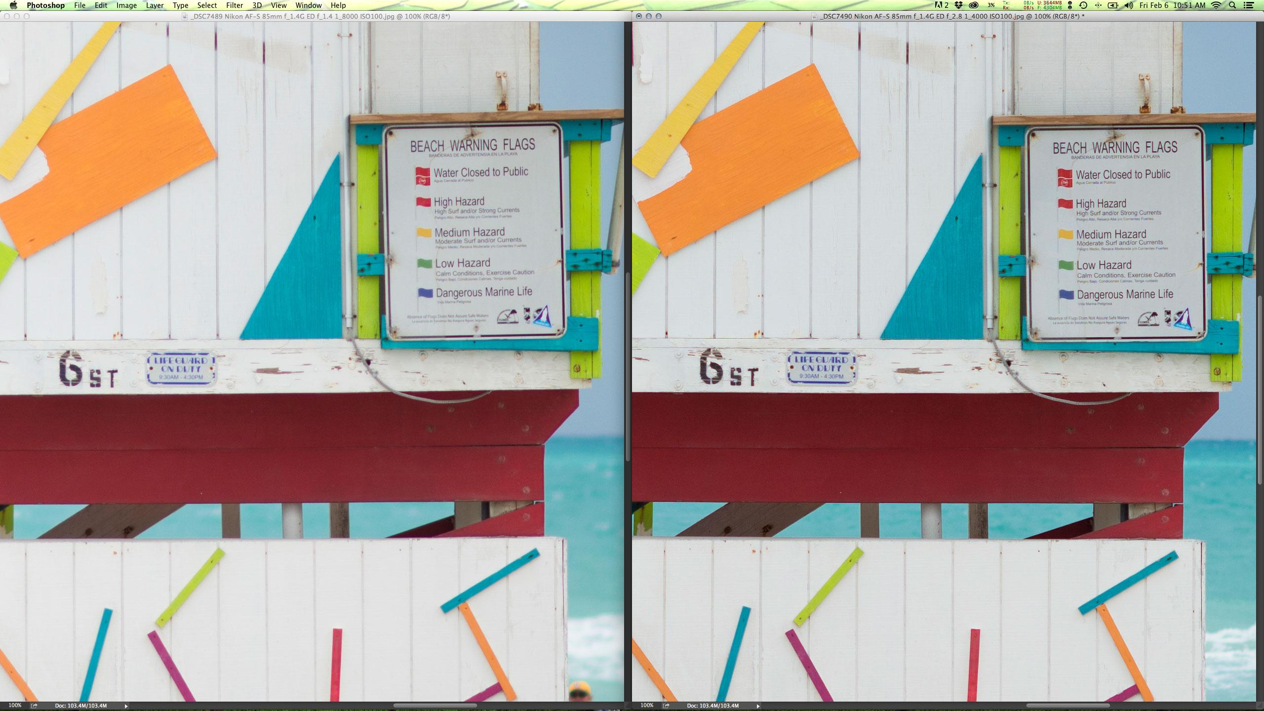 Lado a lado em f/1.4 e f/2.8; note como o blooming e a resolução sobre um pouco.
