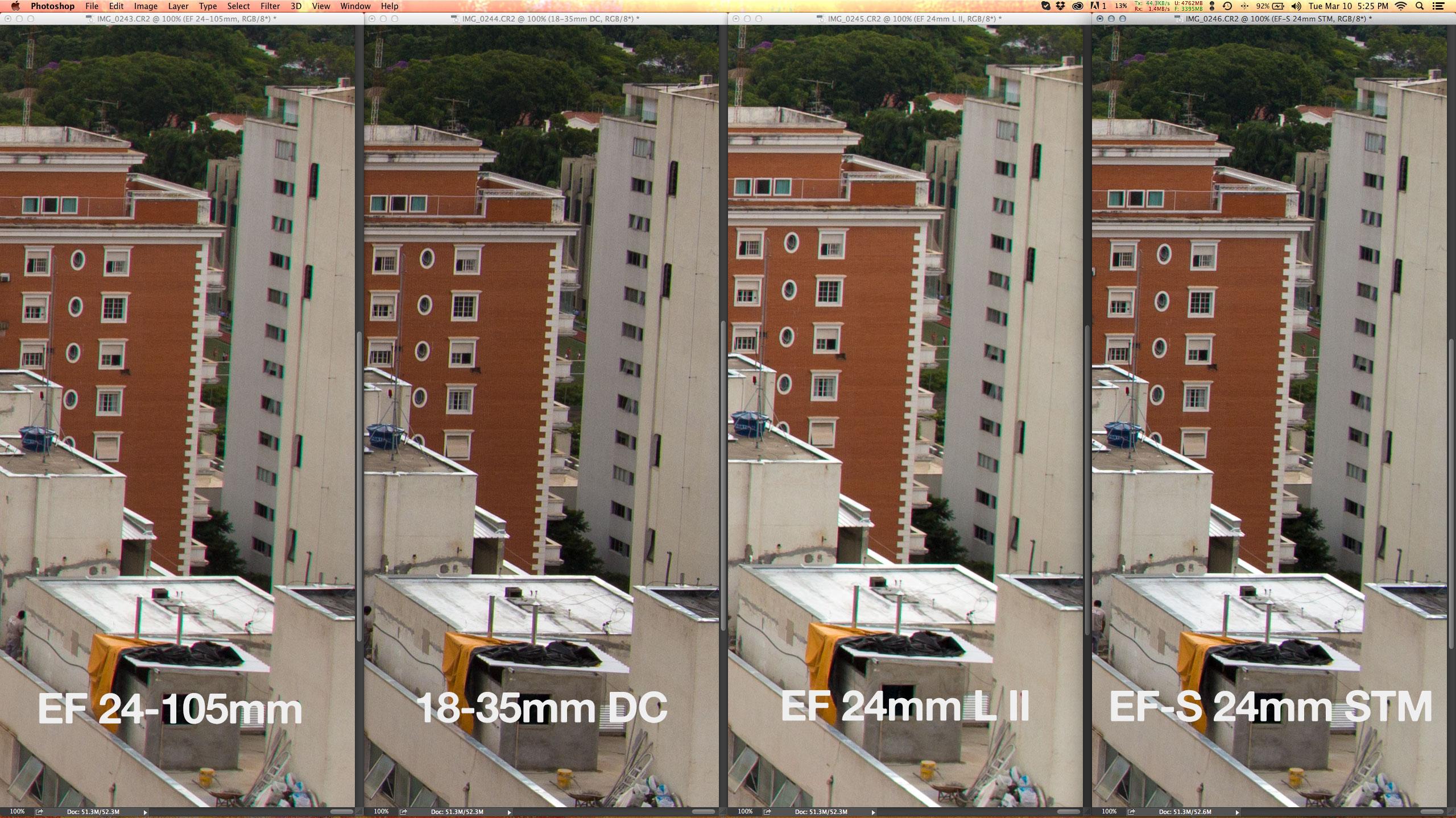 No canto inferior direito, a EF 24-105mm f/4L IS USM é a pior de todas com menos resolução e mais aberrações cromáticas. Em penúltimo, a top EF 24mm f/1.4L II USM é projeto especial da Canon, para pouca luz; nunca mostra muita resolução e também sofre com mais aberração cromática que a nova EF-S 24mm f/2.8 STM. E a vencedora é a Sigma 18-35mm f/1.8 DC HSM, com mais resolução e menos aberrações de todas elas; mas porque não estamos em contra luz. Em áreas de muito contraste, o CA lateral da Sigma é pior que a EF-S.