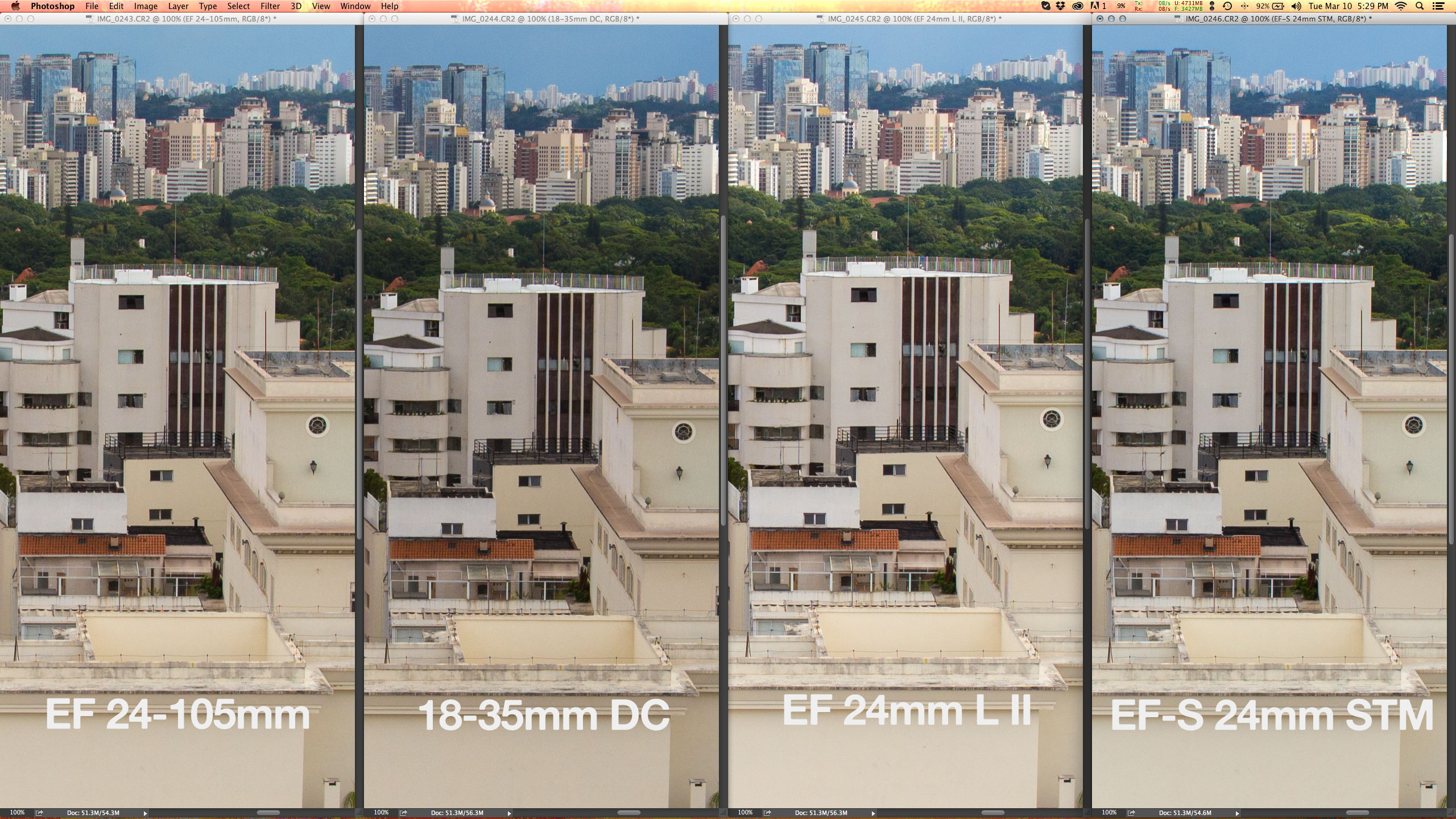 No centro não há nada o que comentar: todas as objetivas são idênticas at f/6.7. Apenas o projeto mais complexo da Sigma é 1/3 de stop mais escuro com os mesmos valores de exposição.