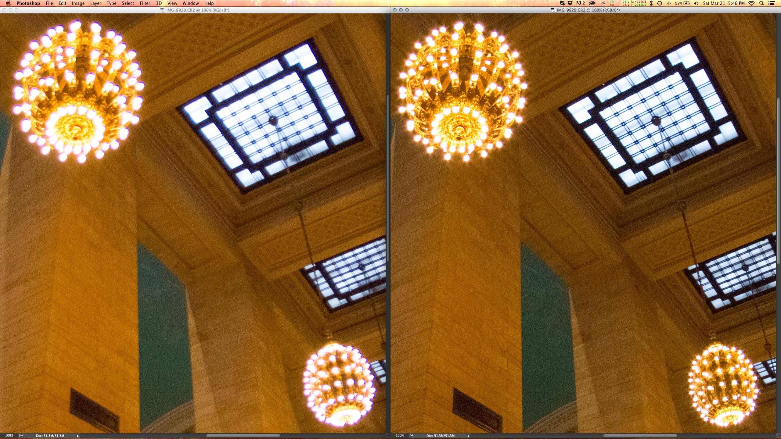 Crop 100%, em abertura máxima T3.8 (esquerda) e T6.7 (direita), notável melhora na nitidez.