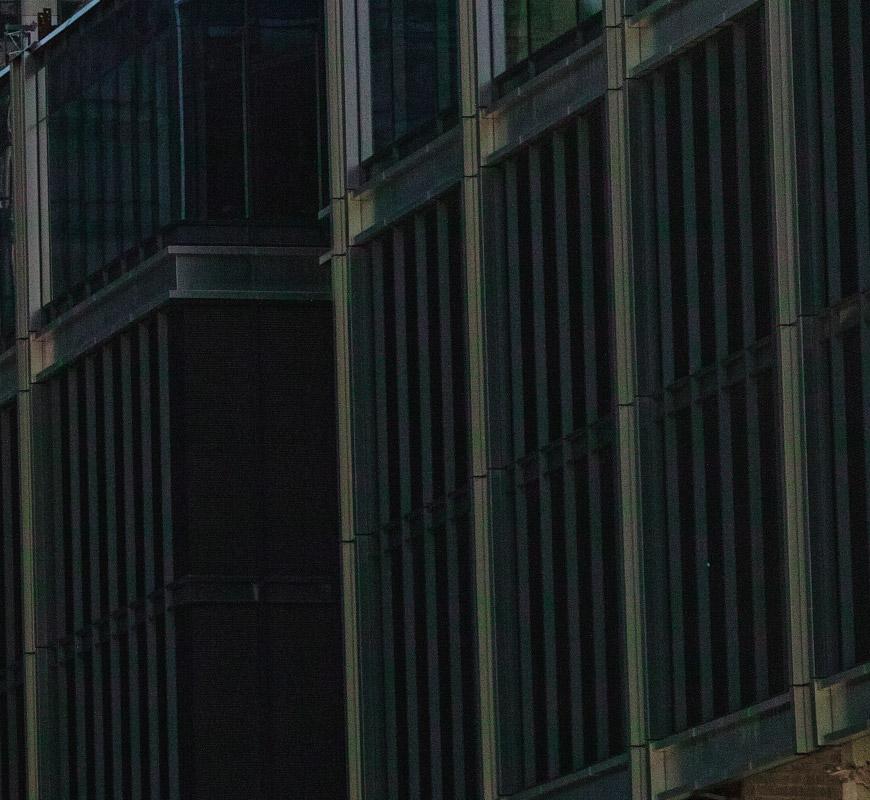 Crop 100%, em ISO200 as sombras já estão com manchas coloridas de ruídos.