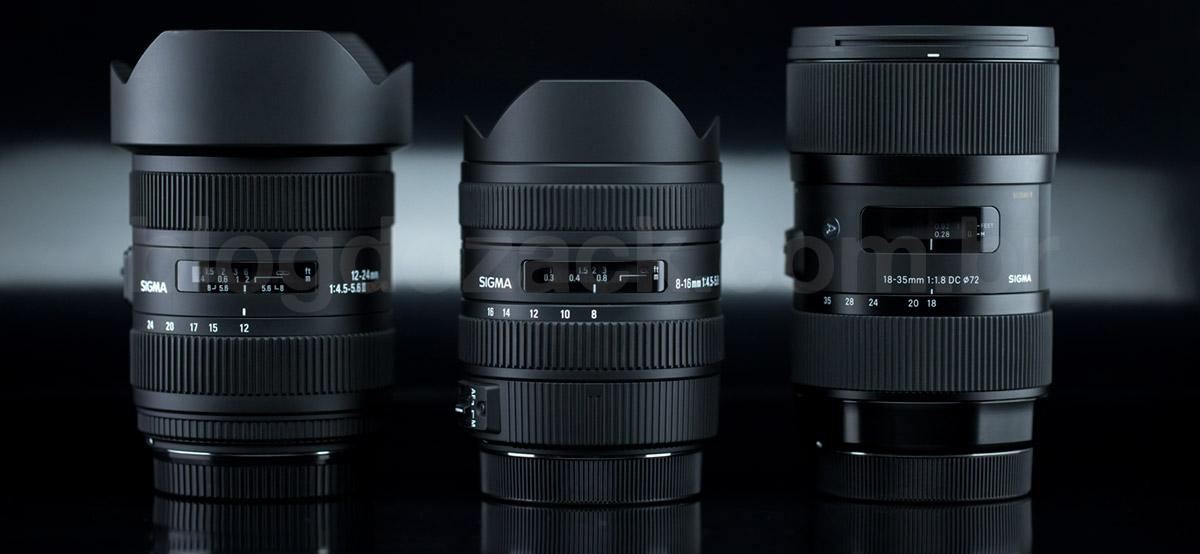 """Três gerações: 12-24mm DG II, 8-16mm DC e 18-35mm f/1.8 """"Art""""."""