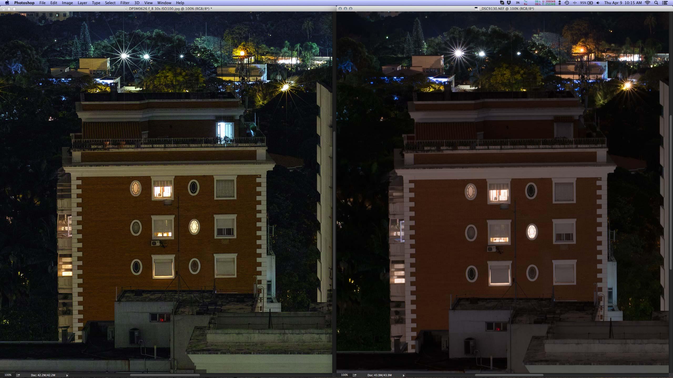 Crop 100%, esquerda DP3M, direita Nikon D800E em modo DX (15MP) + Sigma 50mm f/1.4 DG HSM.