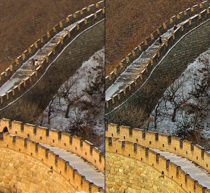 Crop 100%, Canon EOS 60D a esquerda e Sigma DP2M a direita. Dear lord! O_o