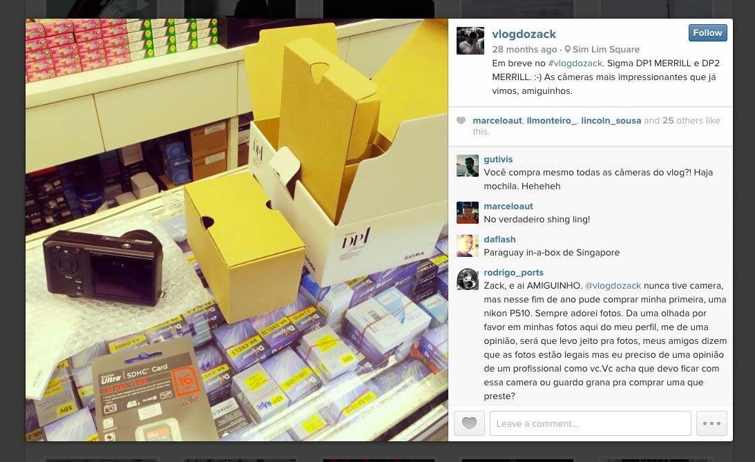 Compra da DP1M teve direito até a post em tempo real no www.instagram.com/vlogdozack. \o/
