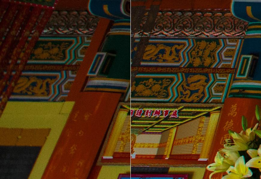 Crop 100%, performance fenomenal antes de chegar totalmente na borda (direita), e o meu problema com a resolução no perímetro total (esquerda).