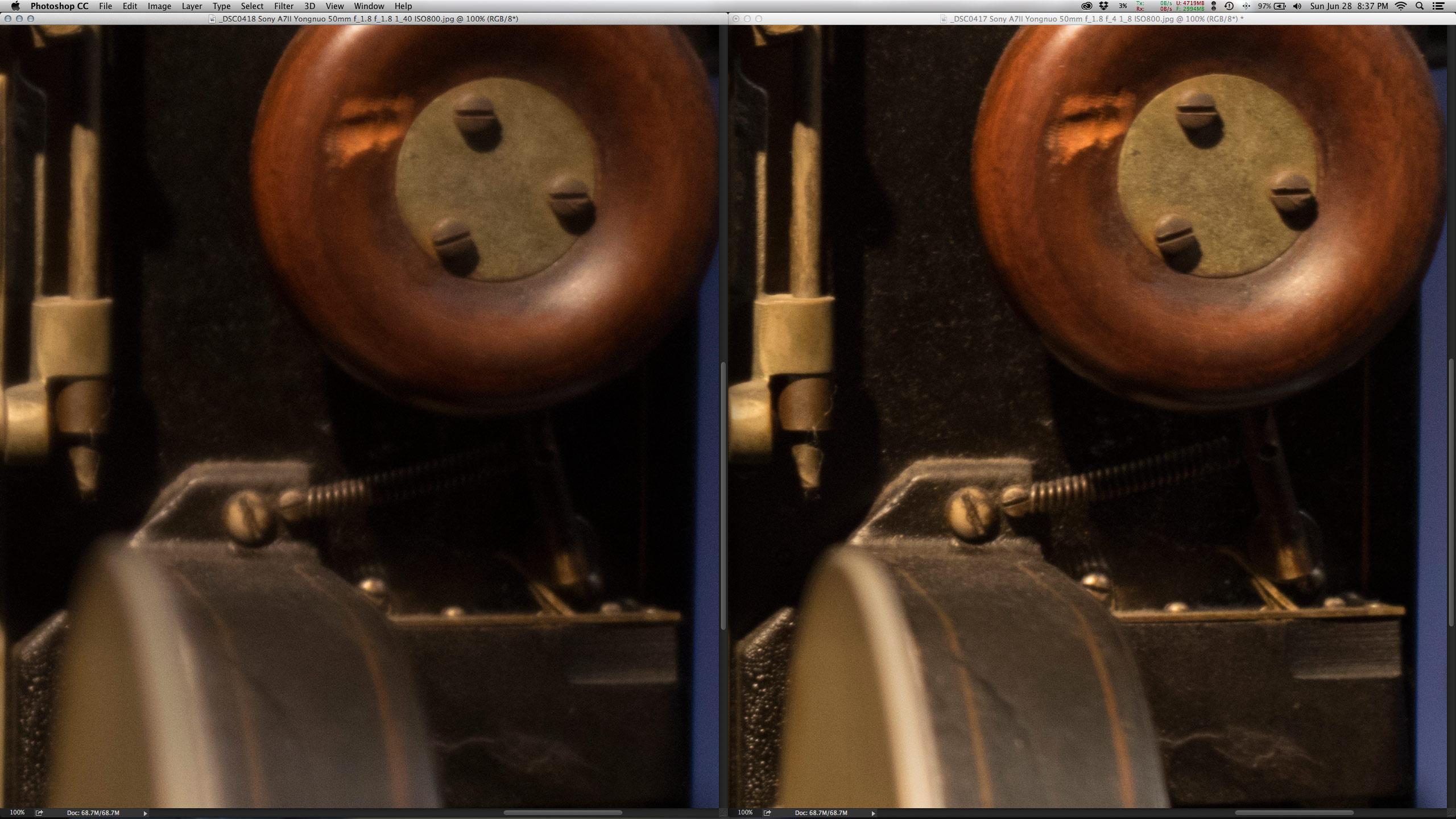 Crop 100%, a diferença do f/1.8 (esquerda) e f/4, mesmo com o plástico.