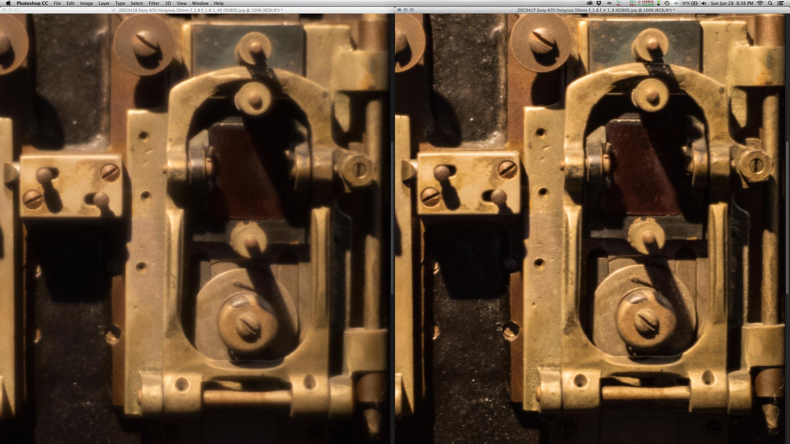 Crop 100%, o resultado é similar a Canon, que melhora bastante no f/4.