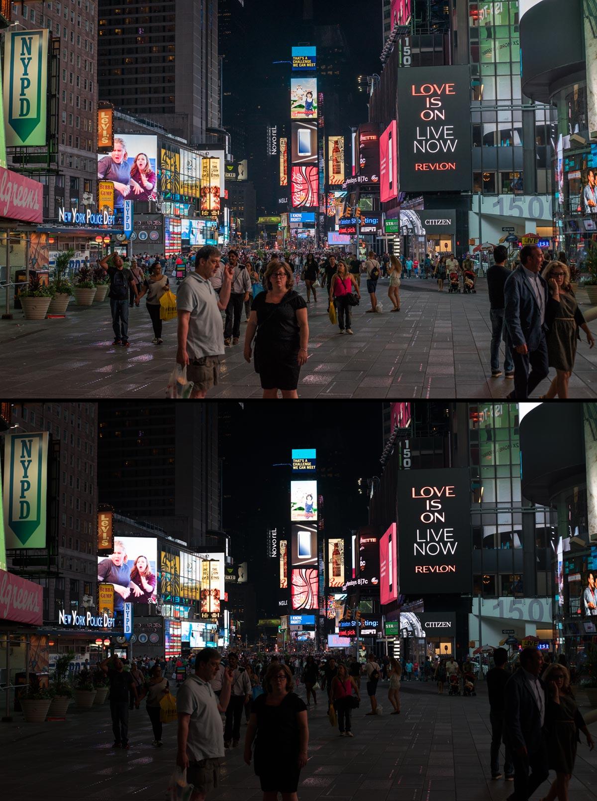 """""""Times Square"""" com a A7II + EF 50mm f/1.8 STM em f/5.6 1/200 ISO640; preferível fazer uma exposição escura (baixo) e recuperar as sombras via software (cima), do que ultrapassar o ISO640, ou abrir mais a objetiva, ou diminuir a velocidade no obturador."""