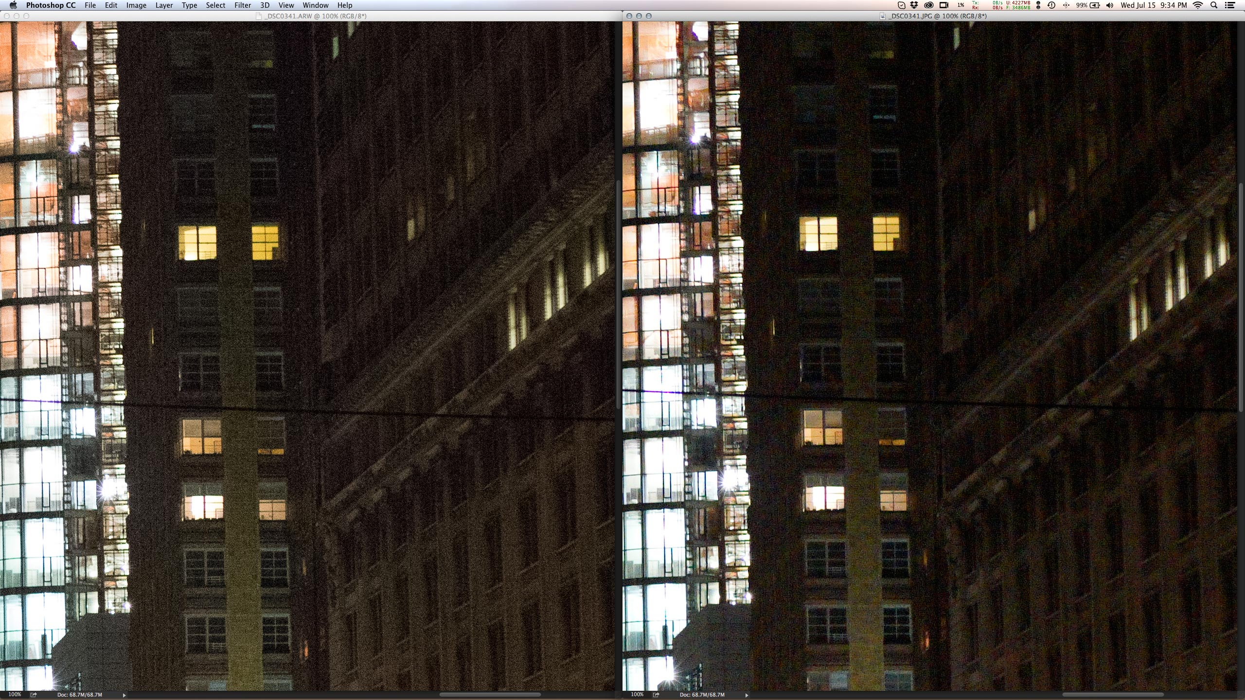 Mas é extremamente agressivo com ruídos (ISO10000), então é melhor fotografar em raw nestas situações (esquerda).