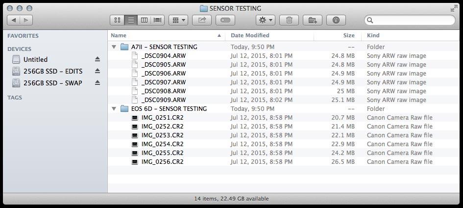 Os arquivos da Sony não são muito menores que os da Canon EOS 6D, que vai crescendo de acordo com o ISO.
