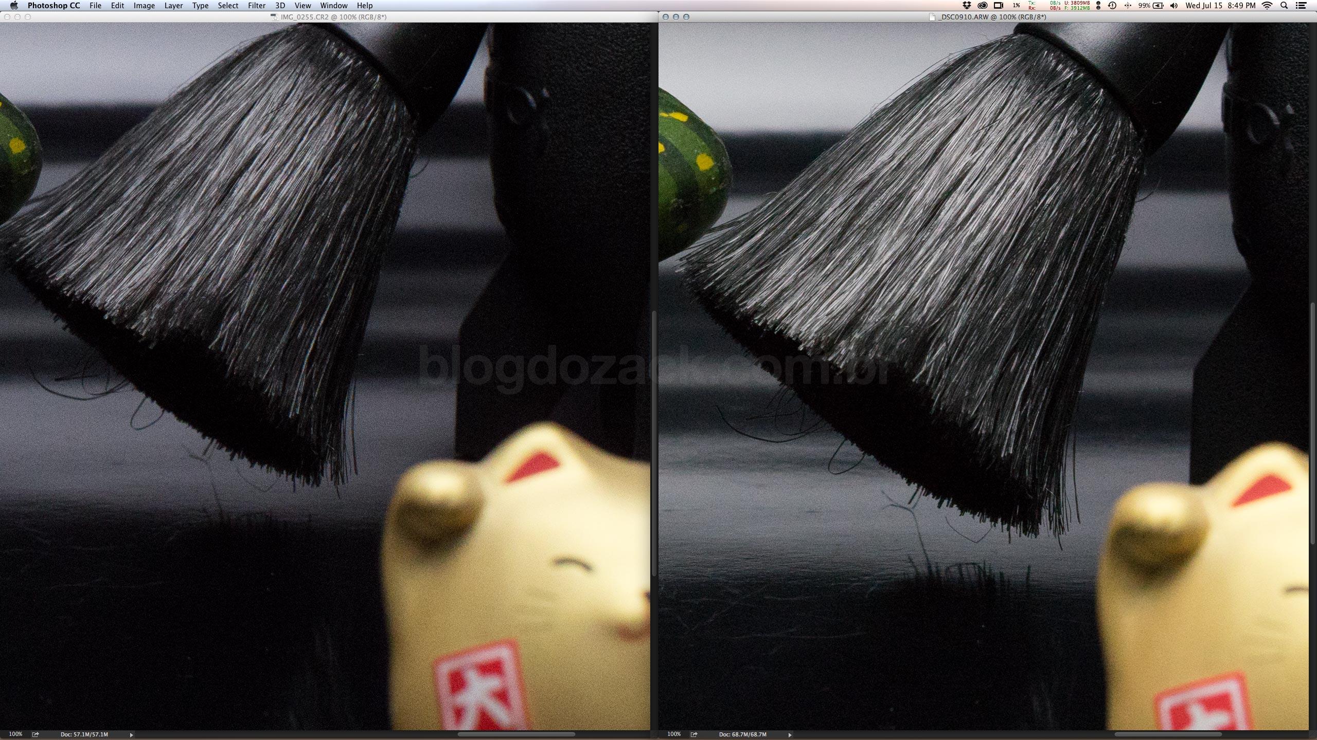 Esquerda: EOS 6D ISO6400 1/500. Direita: A7II ISO800 1/500 +3EV via ACR. Magicamente via software a A7II ficou com a mesma equivalência de exposição e menos ruídos!