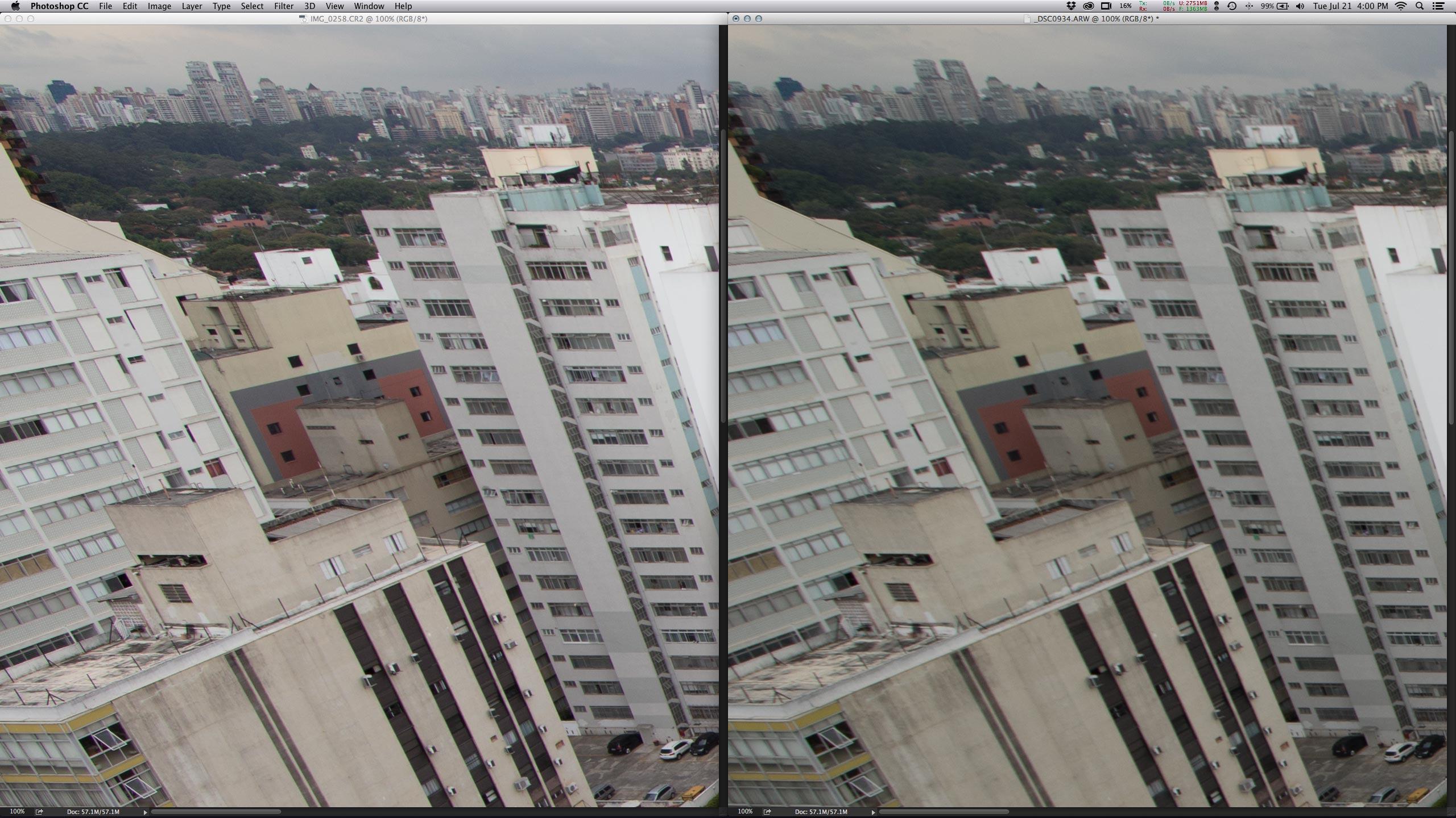 """Esquerda, cima - EF 14mm f/2.8L II USM parece """"vesga"""" na Sony A7. O_o"""