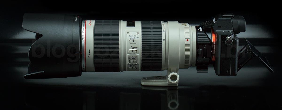 Sony A7II + EF 70-200mm f/2.8L II IS USM: conjunto inútil sem AF rápido.