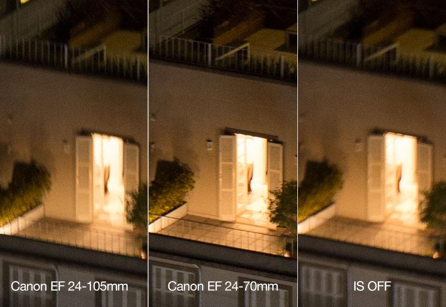 """Canon EF 24-105mm e EF 24-70mm, ambas em 70mm 1/4 e com estabilizador ligado; modelo novo """"segura"""" mais a composição no lugar."""