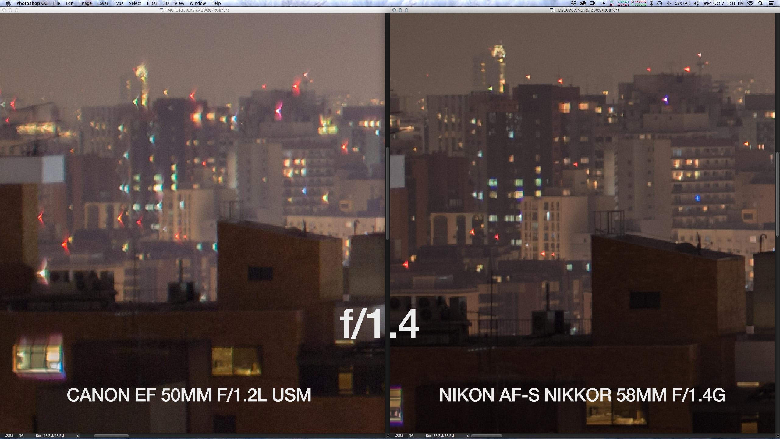 """Crop 100%, note nas """"asas de gaivota"""" nos pontos de luz da Canon EF 50mm f/1.2L USM."""