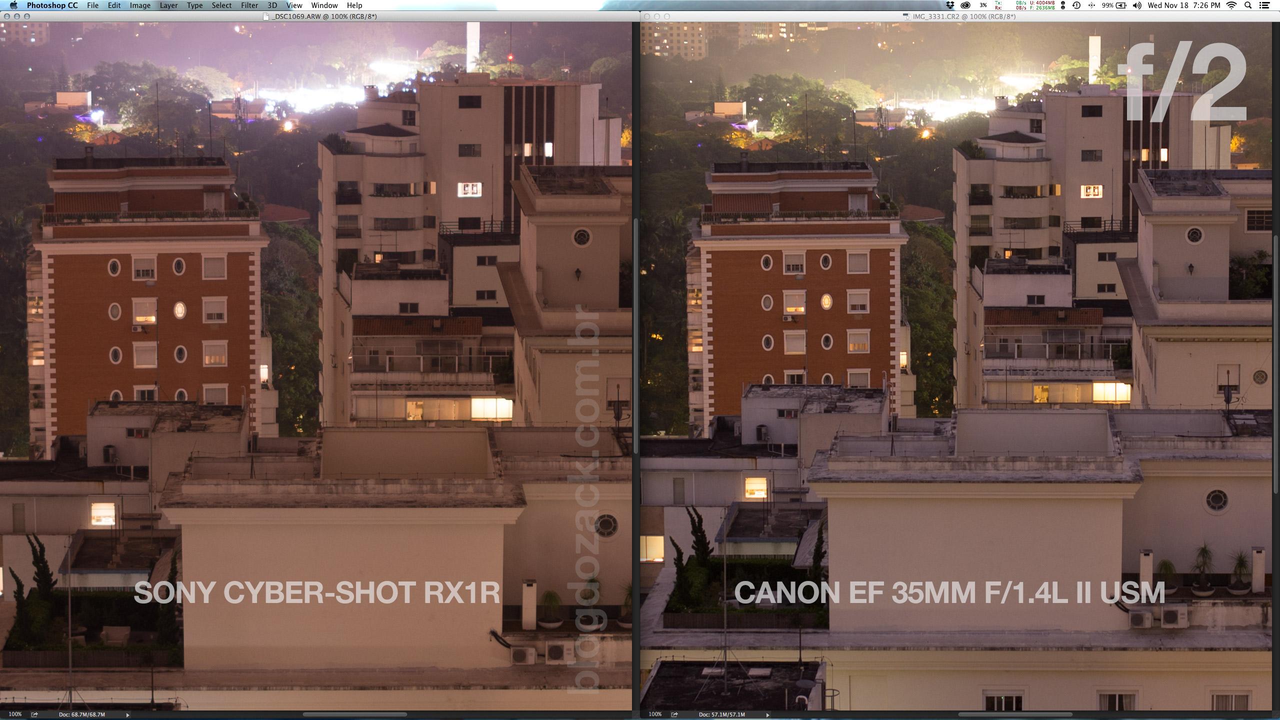 Por estar totalmente aberta, a Sony até se segura bem na resolução e contraste do centro. Mas a Canon 1 stop fechada está muito na frente.