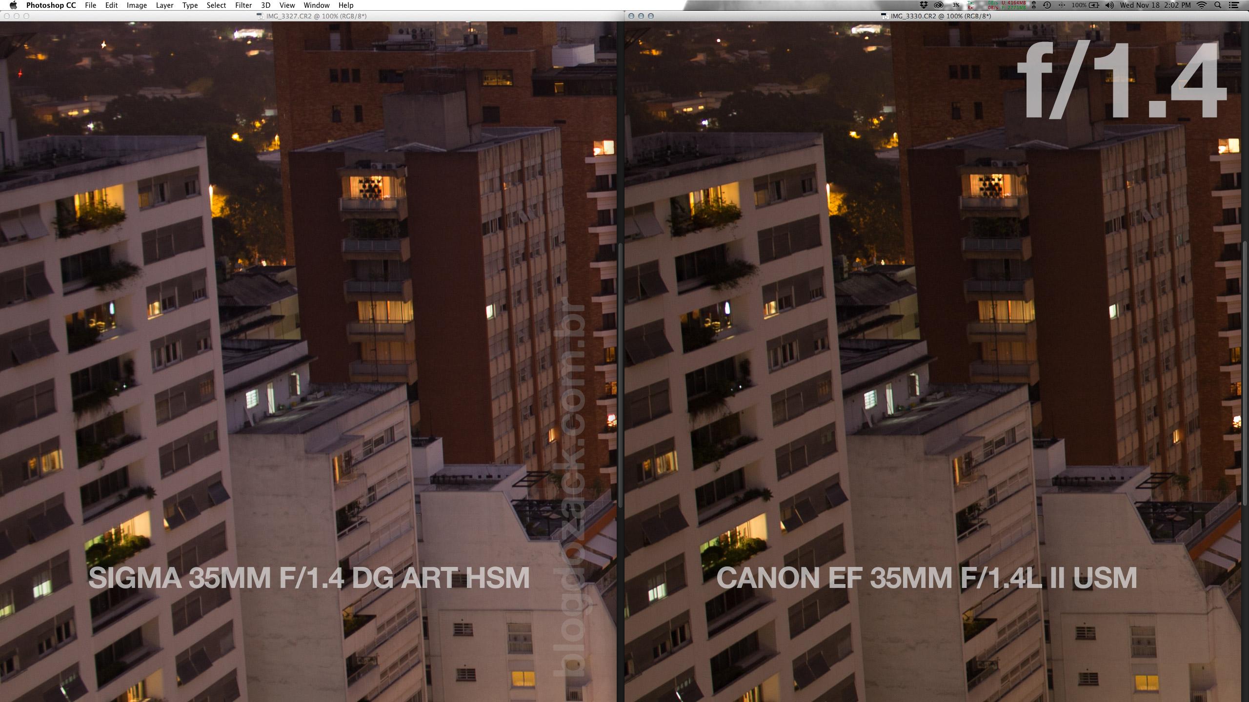 A Canon mostra uma vantagem no prédio branco, que está bem mais nítido. A Sigma não é ruim considerando abertura e posição no quadro. Mas a Canon é espetacular!