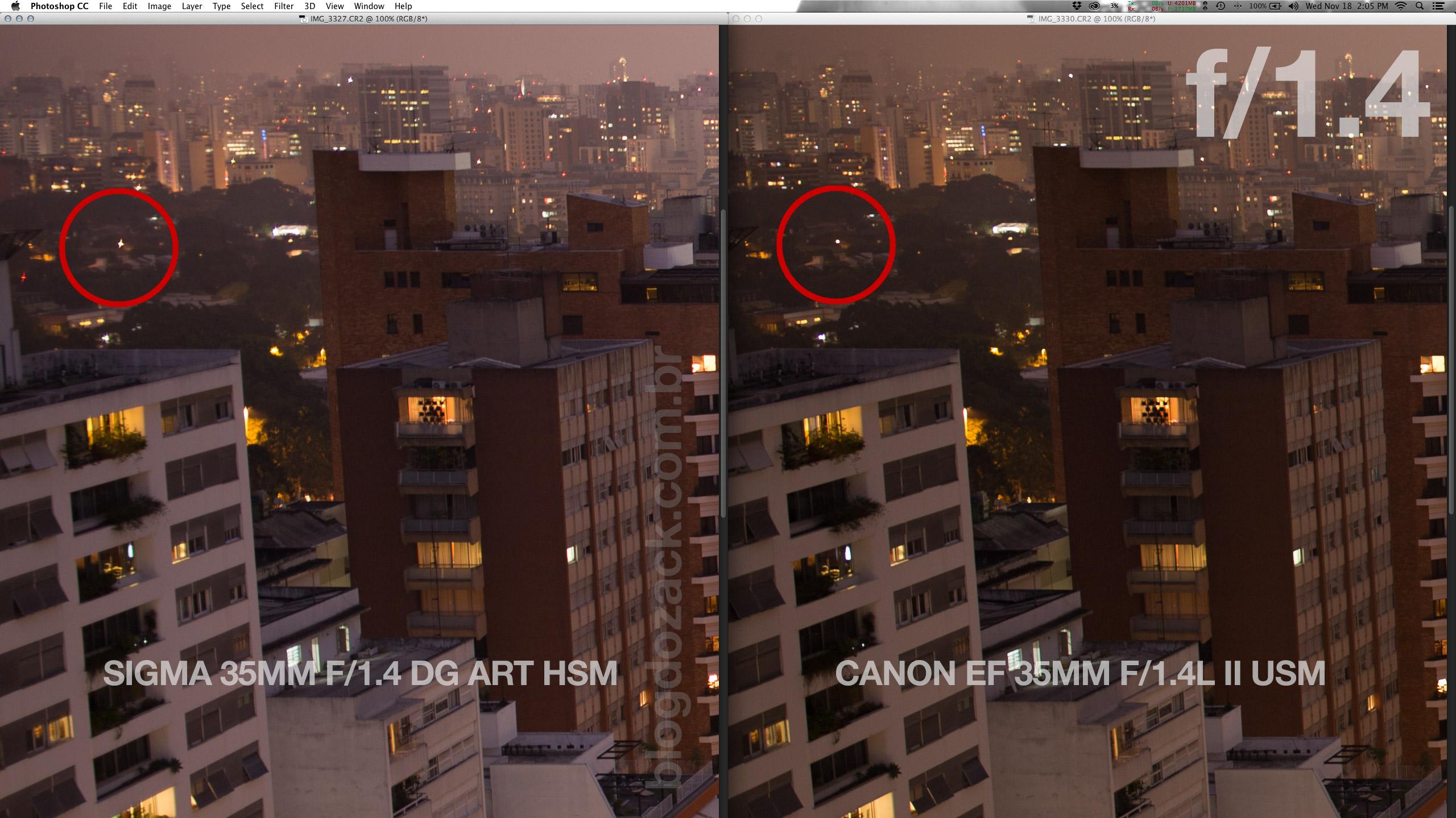 A Sigma que já corrigia isso muito bem fica obviamente para trás em comparação a Canon nova. A Canon é realmente bizarra na abertura máxima em nitidez e controle de aberrações.