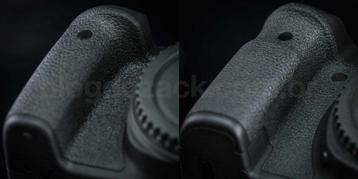 Notice how the full frame EOS 6D (right) has a much more pronounced hand grip.