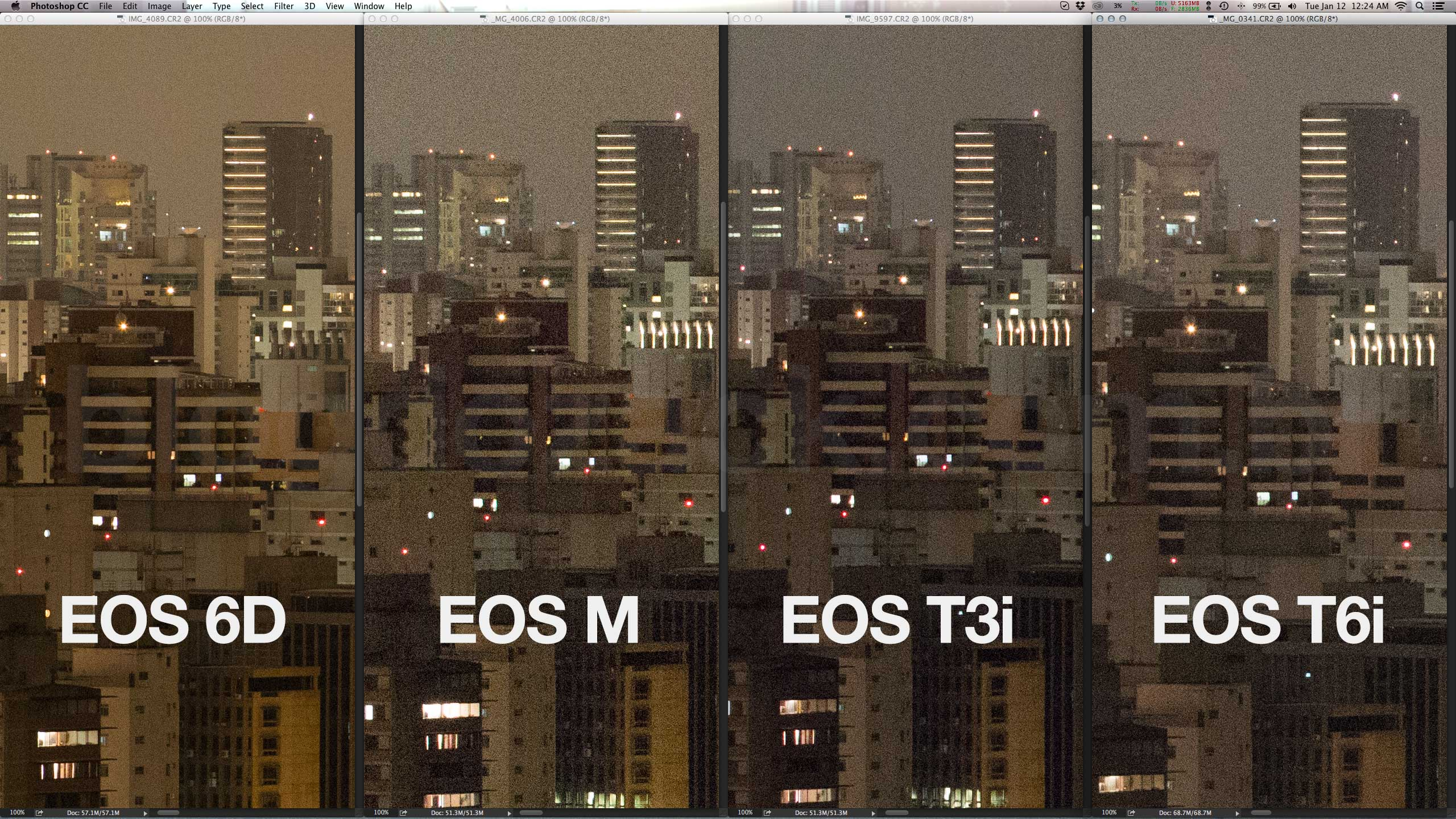 At ISO6400, the T6i is barely an improvement over the previous cameras. Files are as noisy but the details are there, just a little bigger due to the extra pixels. The full frame camera all the way to the left is vastly superior.