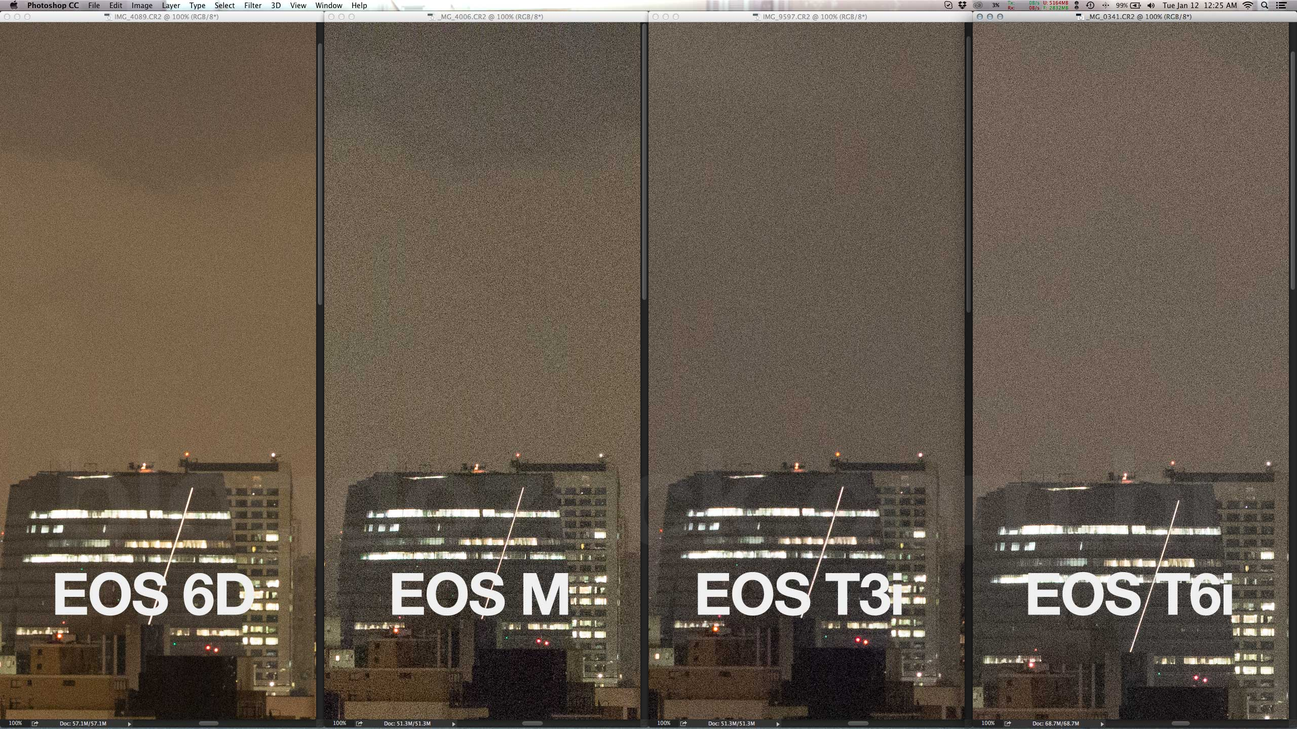 The EOS 6D is cleaner, but all cameras show some tendency for purple casts at high ISOs midtones.