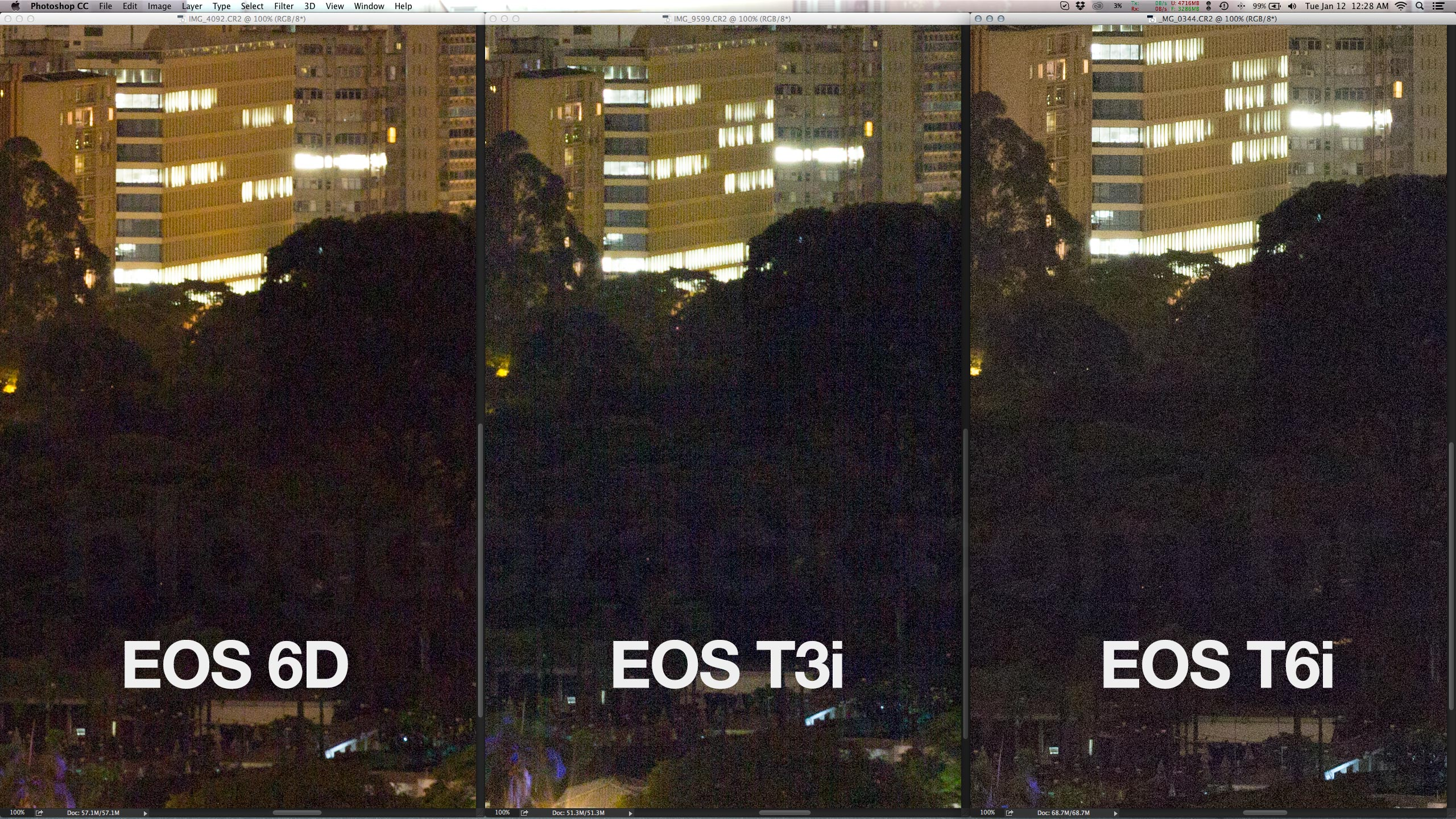 Pushed back in post, the T6i file shows way less banding than the previous generation 18MP APS-C.