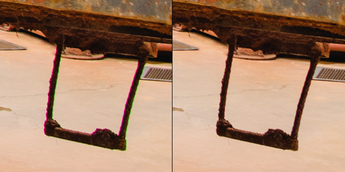 Crop 100%, after a single click in Adobe's Camera Raw, the lateral CA is perfectly corrected.