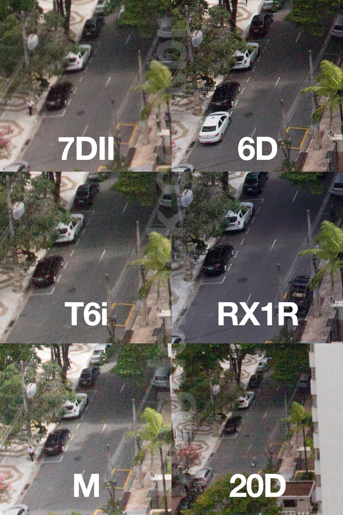 Crop 100%, perdoem o erro no foco da 7DII; mas notem como ela sofre menos com banding que a geração passada (EOS M); sensor da Sony (RX1R) dá um banho na Canon.
