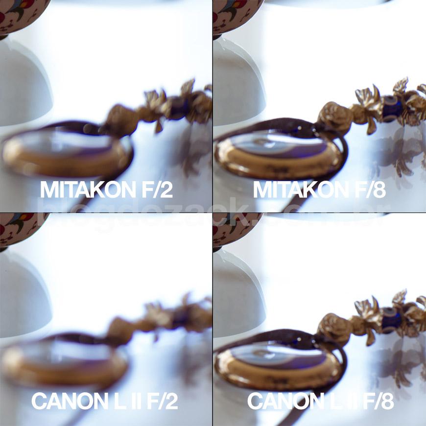 Porém o desfoque no primeiro plano é muito mais suave na Canon.