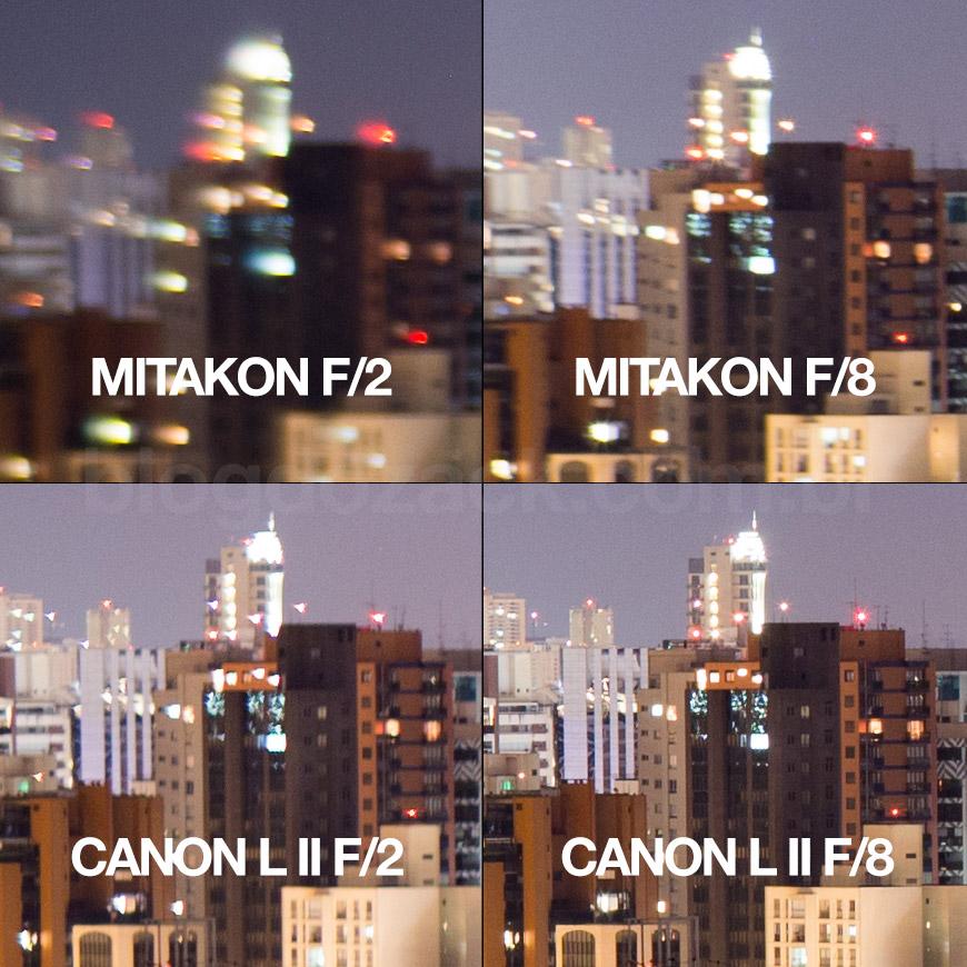 Crop 100%, e nas bordas, a resolução da Canon é maior; lembrem que a minha Mitakon está desalinhada.