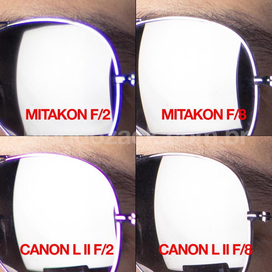 Crop 100%, detalhe das aberrações entre as objetivas, melhores controladas na Canon.
