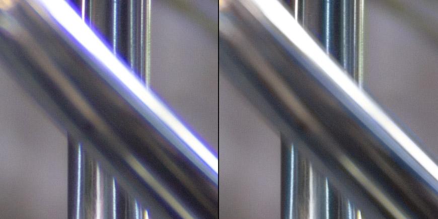 Crop 100%, antes (esquerda) e depois, correção perfeita do software.