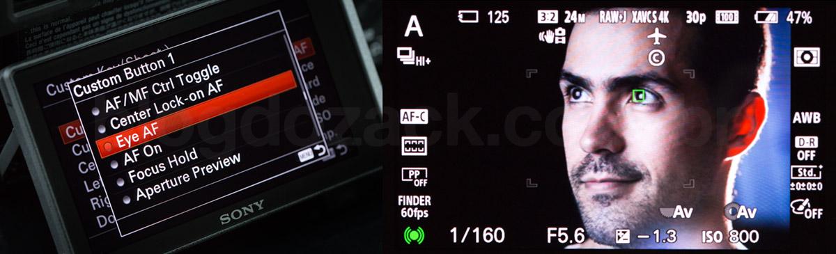 Eye AF, escondido como função customização de um dos botões; o foco é tão preciso que é possível deixar a câmera procurar sozinha pelos olhos do sujeito.