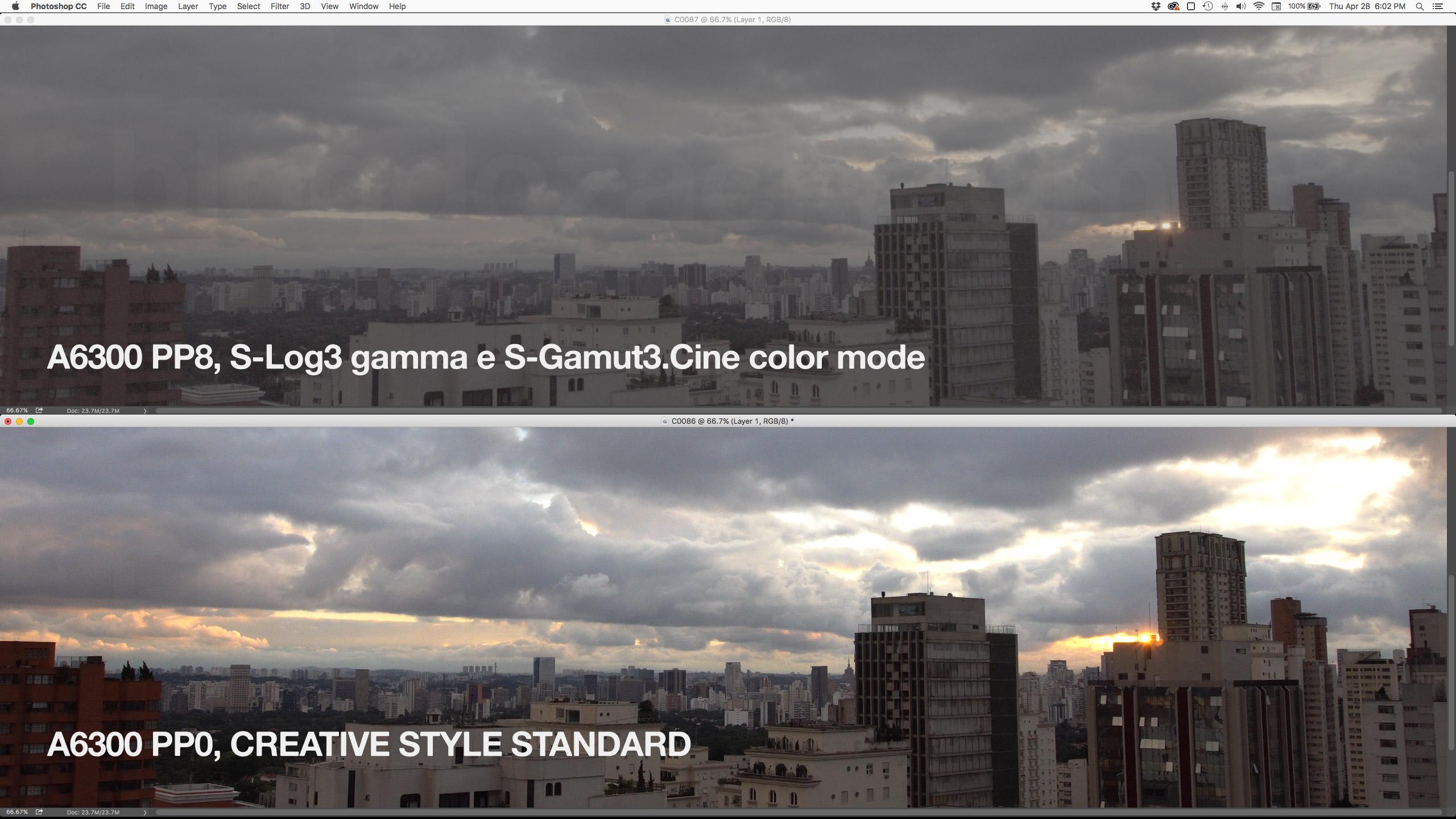 A diferença entre os Picture Profile da A6300, que oferece até S-Log3 para gamma e diversos perfis de cor. Para manter o dynamic range do Exmor, é melhor usar um deles, ao custo dos ruídos.