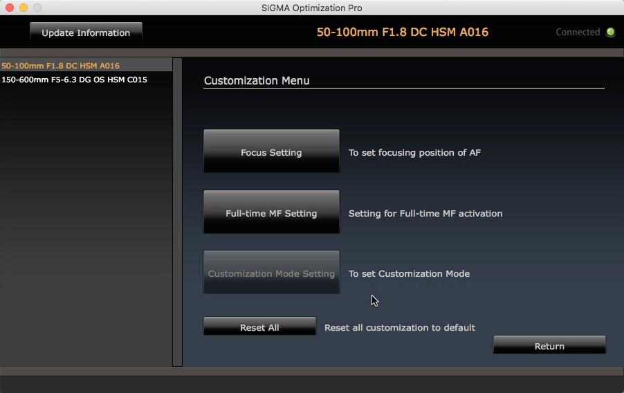 """Os ajustes da Sigma 50-100mm f/1.8 DC HSM: somente foco e """"Full-time MF"""", sem customizações de velocidade, limitador e (obviamente) estabilizador."""